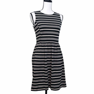 Madewell Striped Fit & Flare Dress Size XS Textured Knit Black White Sleeveless